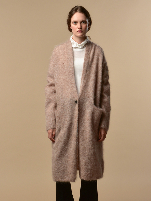 PURE CASHMERE NYC Mohair Long Cardigan - Oatmeal