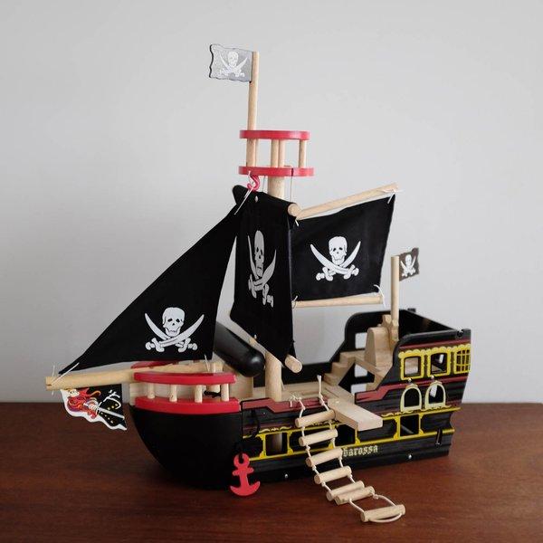 Kids Shop Merci Milo Wooden Pirate Ship - Black on Garmentory