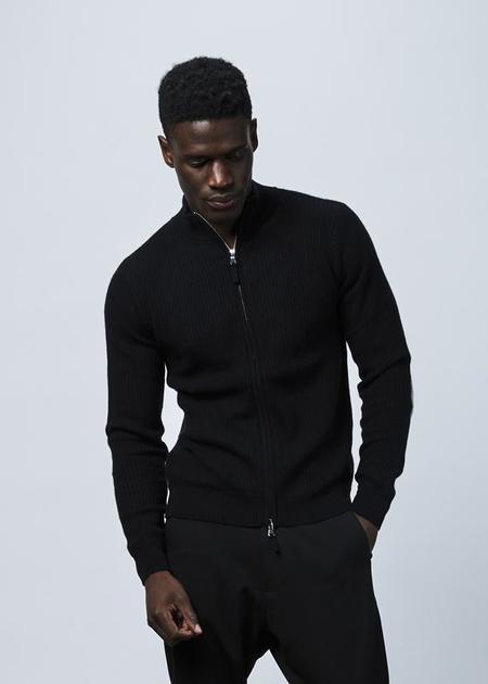 Allude Cashmere Zip Sweater - Black