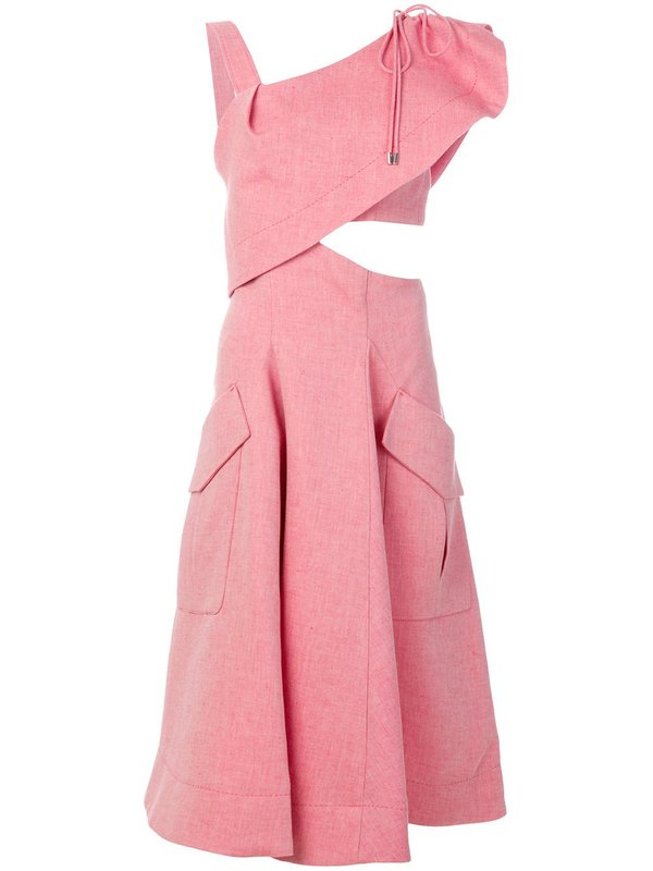 Carven Asymmetric Neckline Dress - Pink | Garmentory