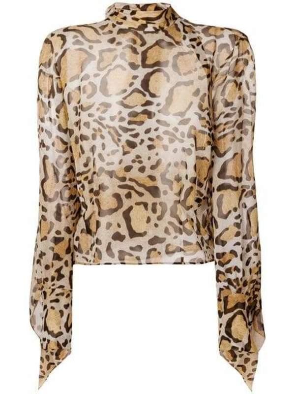 6449aa42 Petar Petrov Blouse With Opulent Sleeves - Animal Print | Garmentory