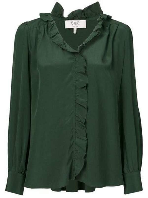 5b221405a53c3a Sea Solange Ruffle Blouse - Dark Green | Garmentory