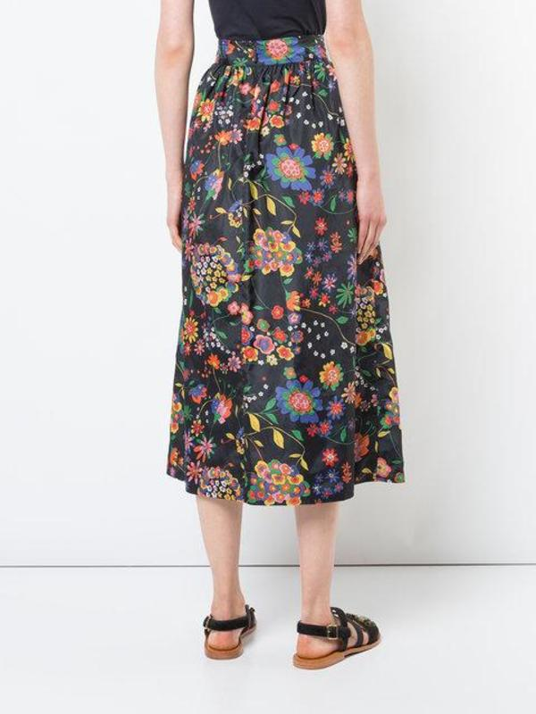 0e4bc35436 Tibi Printed Tech Floral Smocking WB with Full Skirt - Navy Multi ...