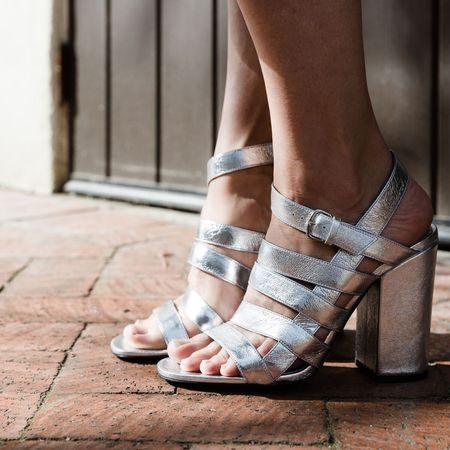 Alumnae Cage Sandal on Block Heel - Nappa Laminato