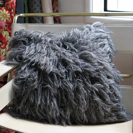 Erica Tanov Alpaca Shag Pillow - Grey