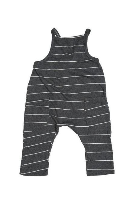 Kids Joah Love Peyton Unisex Gauze Stripe Overalls - Black