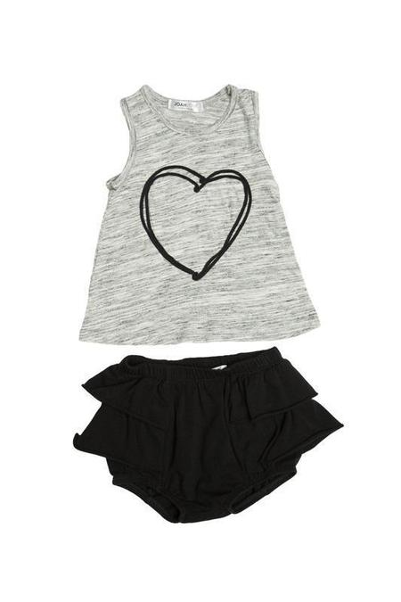 Kids Joah Love Selina Heart Top with Ruffle Bloomers - Marble