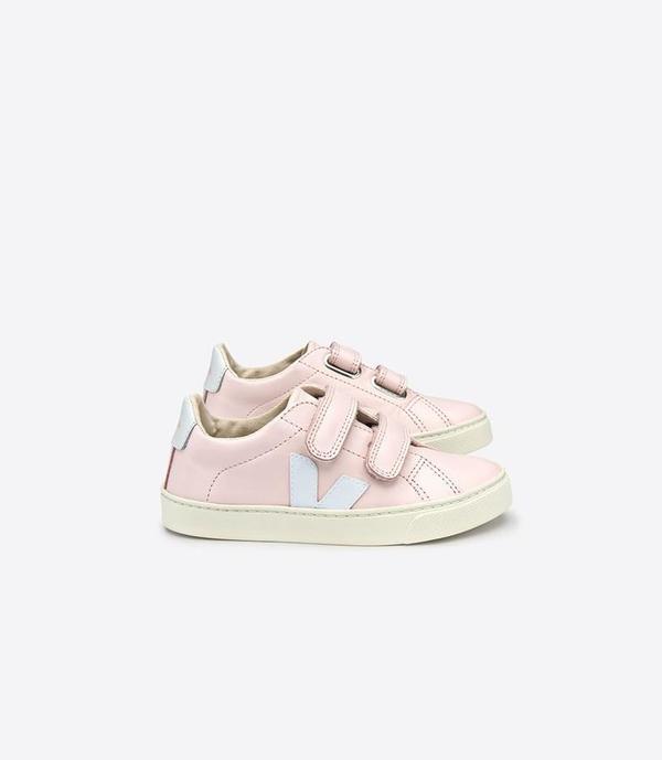 Kids Veja Esplar Small Velcro Leather Shoes - Petale/White