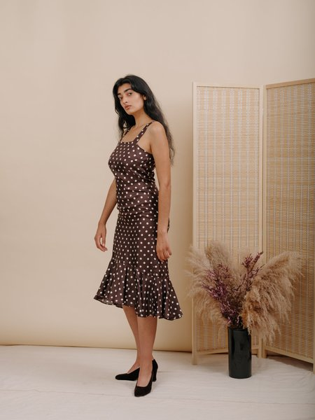 Wolcott : Takemoto Flo Dress - Brown Polka Dot Silk