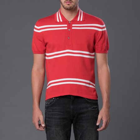 David Hart Polo - Red Stripe