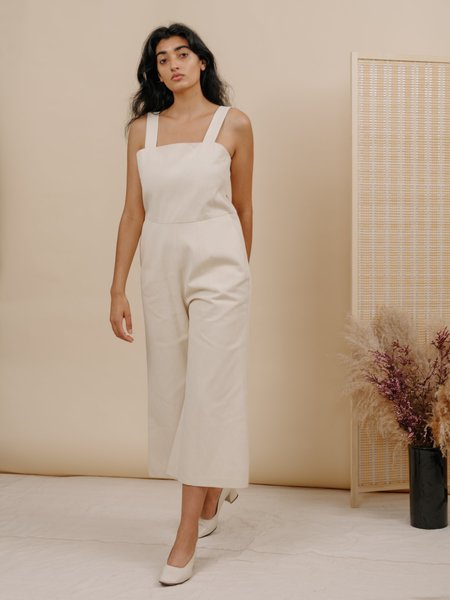 Wolcott : Takemoto Kate Denim Jumpsuit - Eggshell