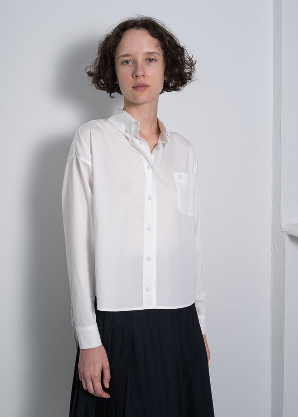 Suzanne Rae Button Up Blouse with Covered Buttons