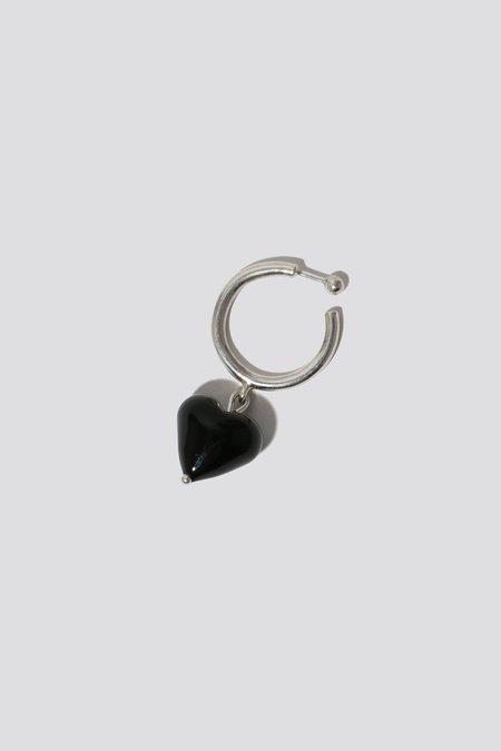 Alexa De La Cruz Heart Drop Hoop Earrings - Silver/Black