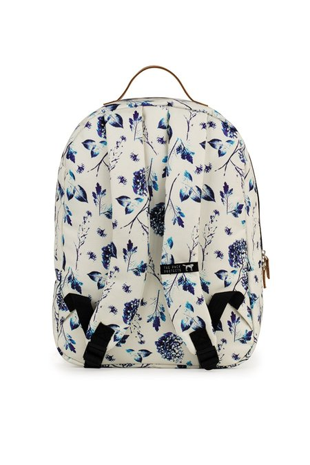 UNISEX The Pack Society CLASSIC BACKPACK - OFF WHITE/BLUE FLOWERS