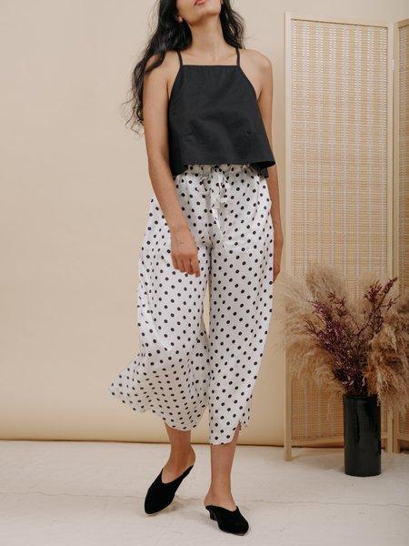 Wolcott : Takemoto Yayoi Silk Pant - White Polka Dot