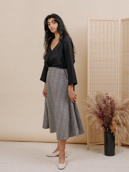 Wolcott : Takemoto Shadow Wool Skirt - Houndstooth