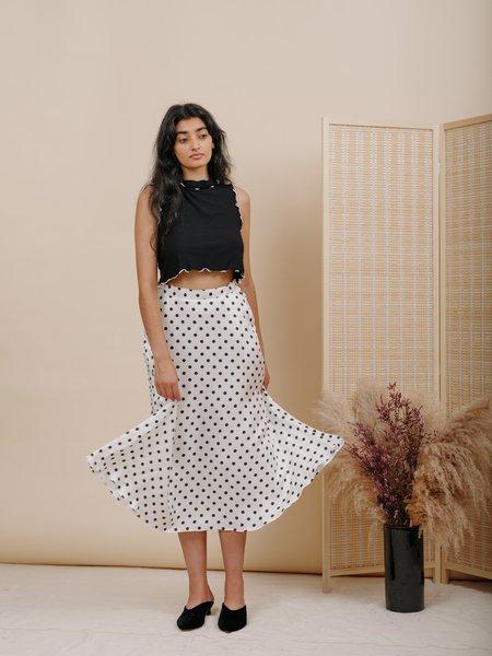 Wolcott : Takemoto Shadow Silk Skirt - White Polka Dot
