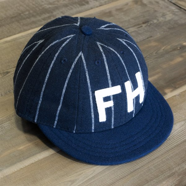 481f1d78 The Foxhole x Ebbets Field Flannels 8 Panel Fitted Pinstripe Wool Cap -  Navy/Cream