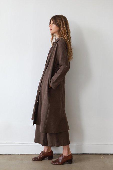 Me & Arrow Long Flannel Jacket Dress - Brown