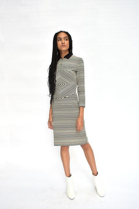CV Saint Striped Polo Dress - Black/White