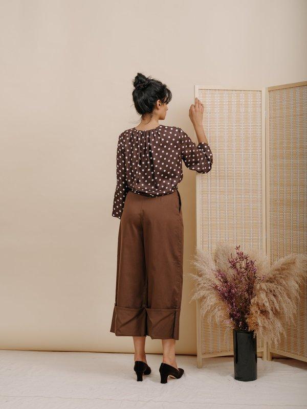 96456924c25746 Wolcott   Takemoto Diane Silk Blouse - Brown Polka Dot