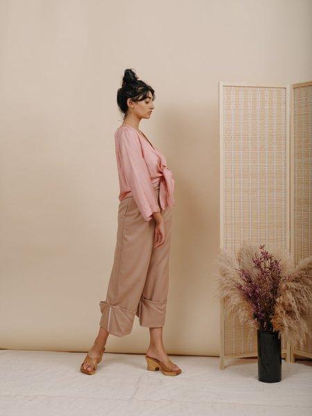 Wolcott : Takemoto Georgia Cuff Wool Pant - Camel