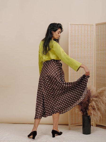 Wolcott : Takemoto Shadow Silk Skirt - Brown Polka Dot