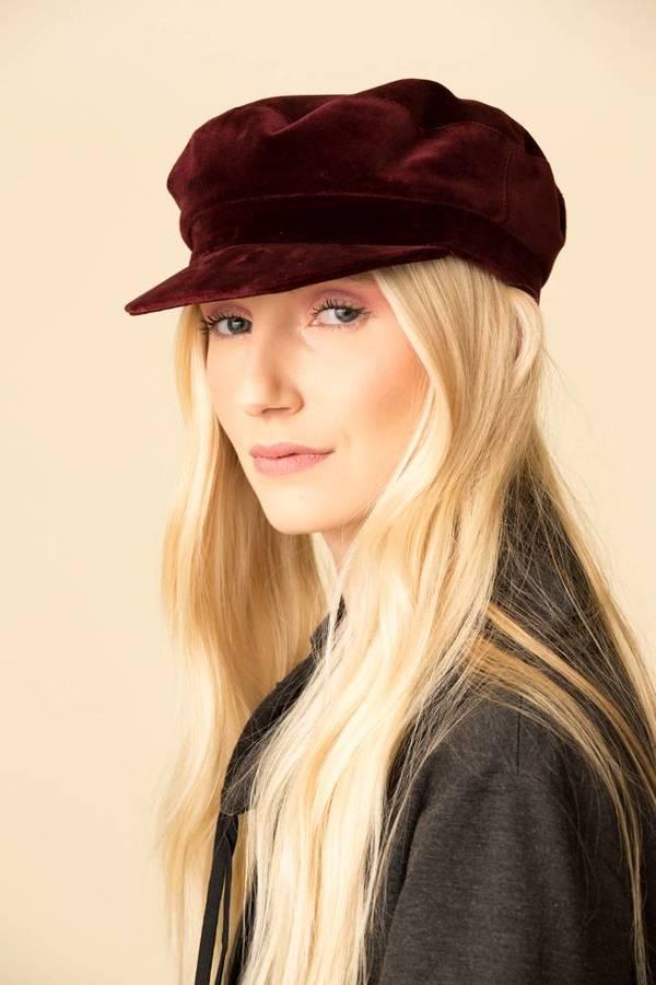 Janessa Leone Velvet Mattie Hat - Burgundy  4a1252acd98d