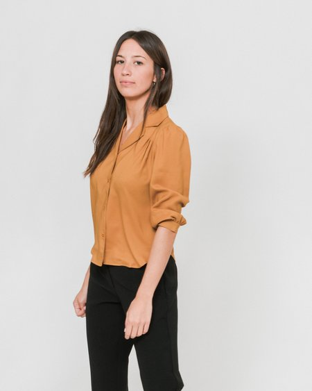 Side Party Noe Notch Collar Pleated Shoulder Blouse - Burnt Orange