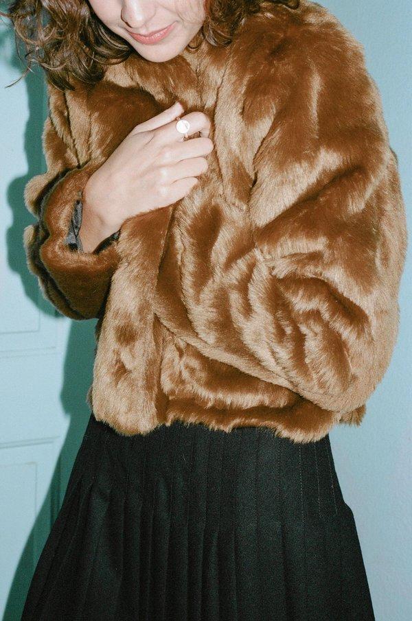 b1e350aac Suzanne Rae Cropped Faux Fur Bomber Jacket - Caramel