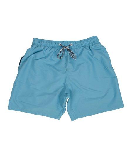 Boardies Cyan Mid Swim Shorts - Blue