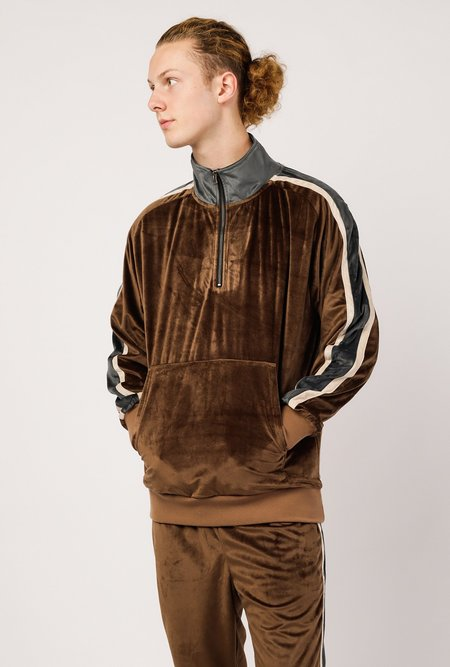 Candor Track 1/4 Zip Pullover - brown