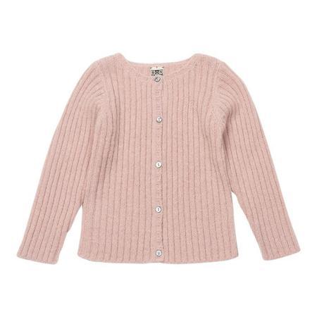 kids Bonton Ribbed Cardigan - Petal Pink