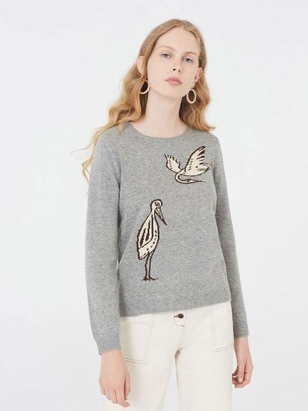 Nice Things Intarsia Birds Sweater - Grey