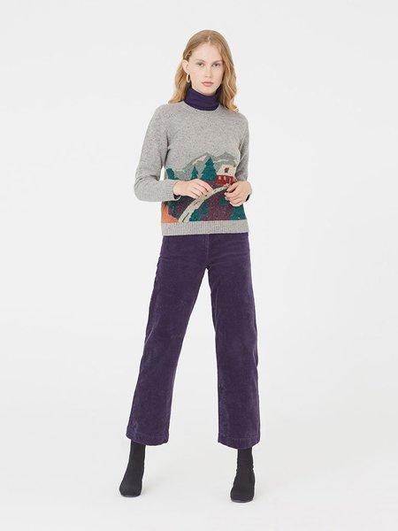 Nice Things Landscape Intarsia Sweater - Grey Multi