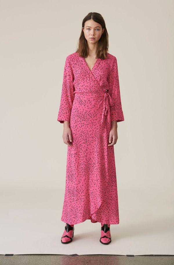 41142e3be5 Ganni Barra Crepe Wrap Dress - Pink
