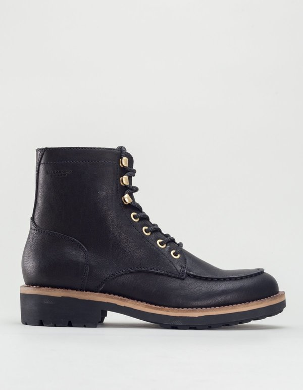 Vagabond bruce leather lace-up boot - black