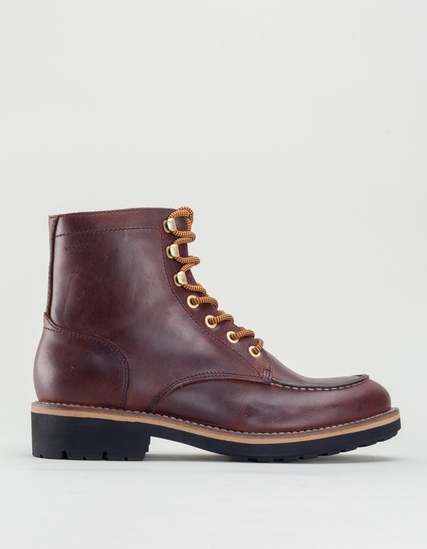 Vagabond bruce leather lace-up boot - dark brandy