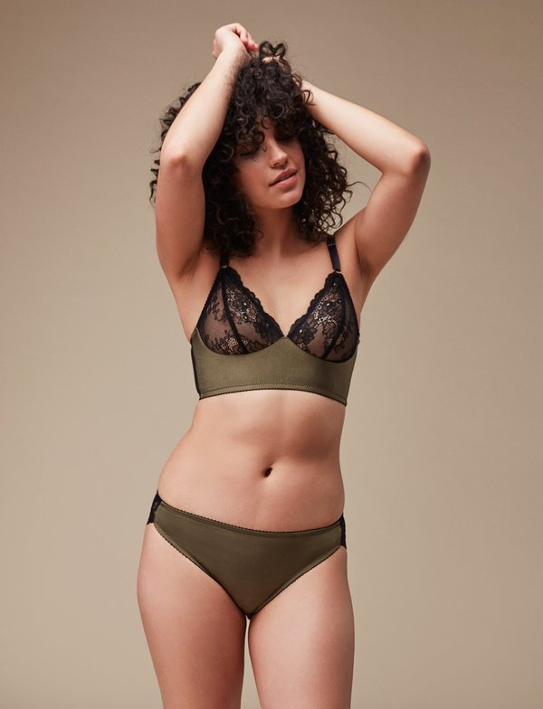 Fortnight Longline Bra - Olive Green