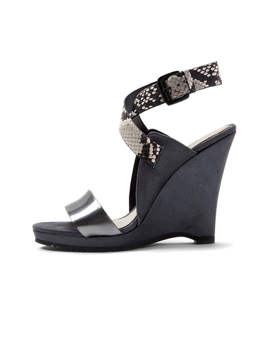 Elie Tahari Weston Snake Strap Wedge Sandal