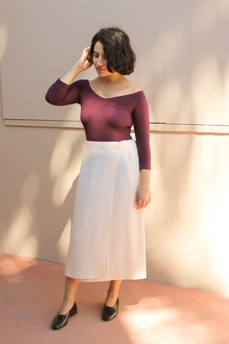 Vintage Honeycomb Wrap Skirt - Biege