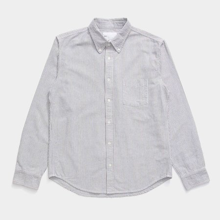 Adsum Oxford Button Down Shirt - Navy/Brown Striped