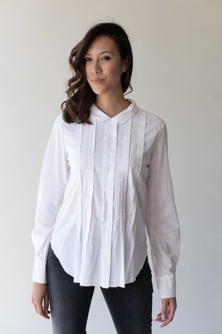 Kristensen du Nord 361 Pleat Front Blouse - White
