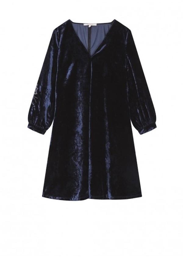 La Fée Maraboutée Embroidered Dress - Bleu Nuit