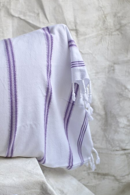 Cuttalossa Bengal Stripped Pillowcase Set - White/Lavender