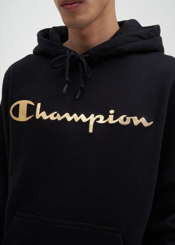c8830853 Champion Reverse Weave Gold Logo Hoodie - Black