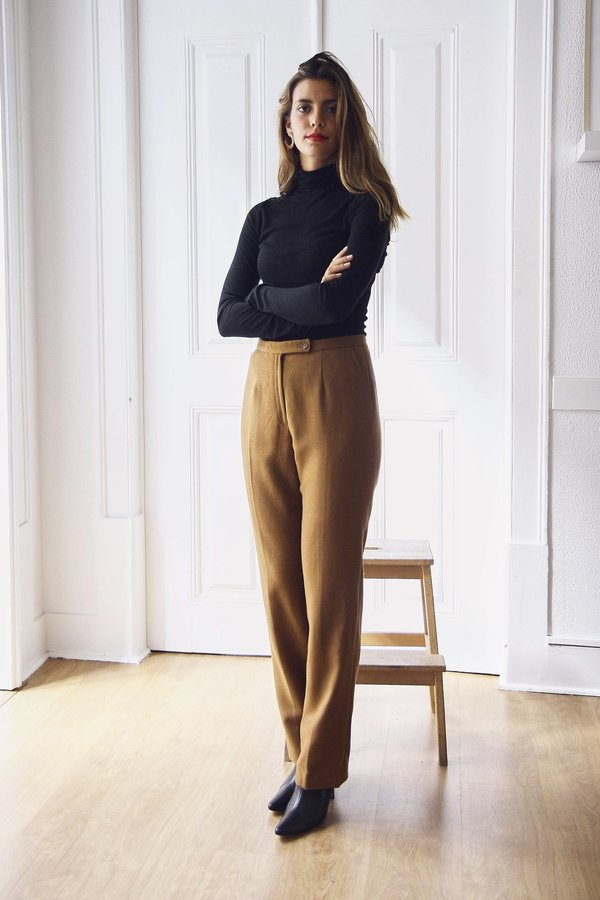 Bird On A Wire Vintage Light Brown Straight Fit Tapered Trousers - BROWN