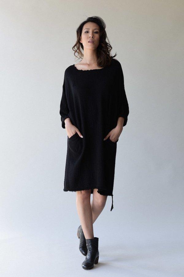 Raquel Allegra Gauze Dolman Dress Black Garmentory