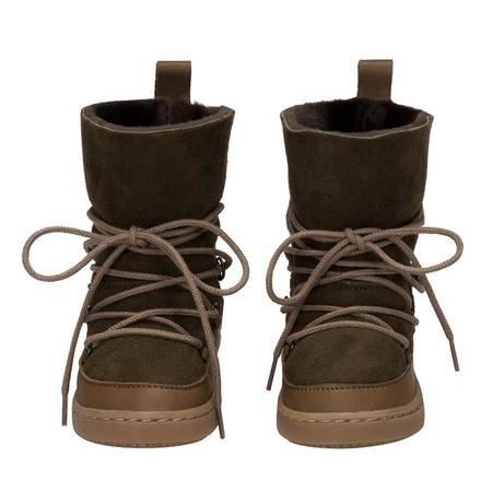 KIDS Birds Of Nature Moon Boots With Fur Lining - Moss Green