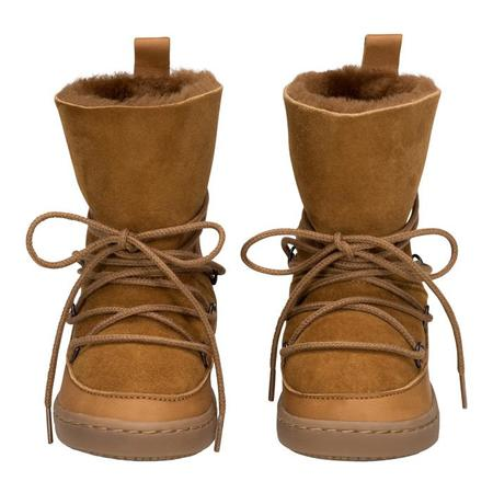 KIDS Birds Of Nature Moon Boots With Fur Lining - Pine Brown